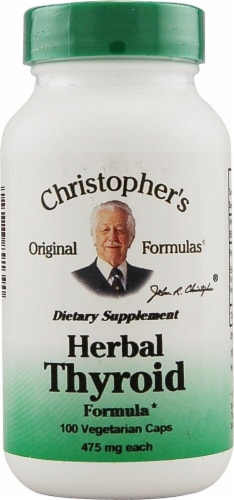 Christopher's Herbal Thyroid Formula Vegetarian Capsules 475mg Perspective: front