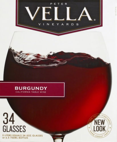 Peter Vella Burgundy Red Box Wine Perspective: front