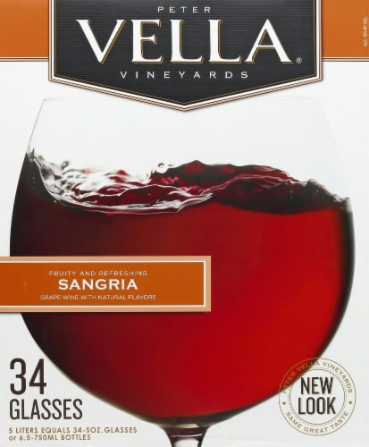 Peter Vella Sangria Red Box Wine Perspective: front