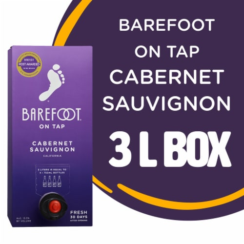 Barefoot Cellars On Tap Cabernet Sauvignon Red Wine 3L Box Wine Perspective: front