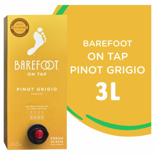 Barefoot Cellars On Tap Pinot Grigio White Wine 3L Box Wine Perspective: front