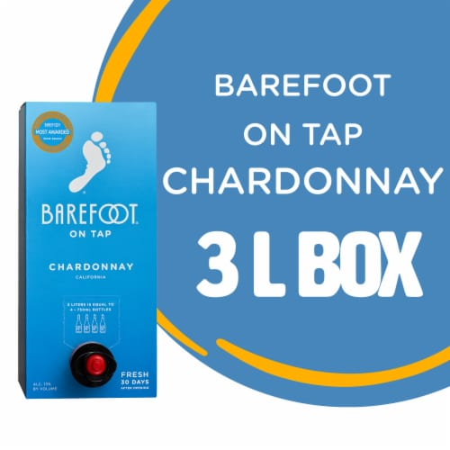 Barefoot Cellars On Tap Chardonnay White Wine 3L Box Wine Perspective: front
