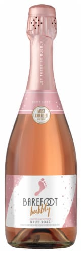 Barefoot Bubbly Brut Rose Champagne Sparkling Wine 750ml Perspective: front