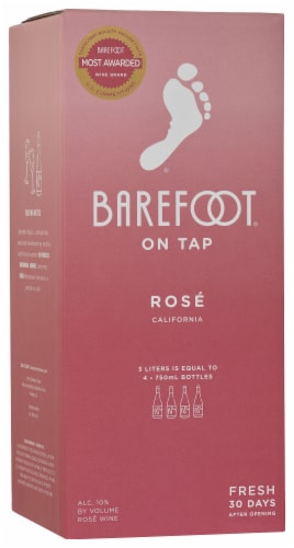 Barefoot On Tap Rose Box Wine Perspective: front