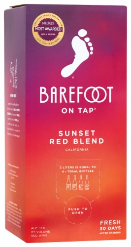 Barefoot Cellars On Tap Red Blend Red Wine 3L Box Wine Perspective: front