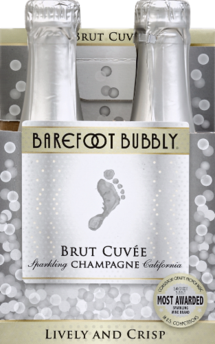 Barefoot Bubbly Brut Cuvee Champagne Sparkling Wine 4 Single Serve 187ml Bottles Perspective: front