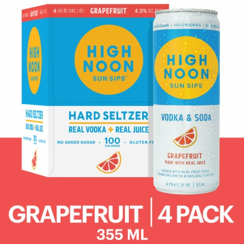 High Noon Grapefruit Vodka Hard Seltzer 4 Single Serve 355ml Cans Perspective: front