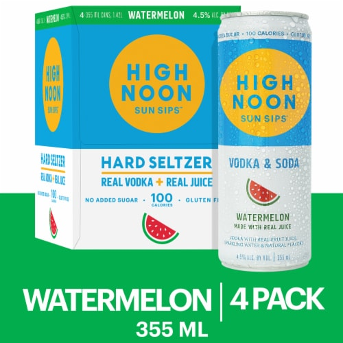 High Noon Watermelon Vodka Hard Seltzer 4 Single Serve 355ml Cans Perspective: front