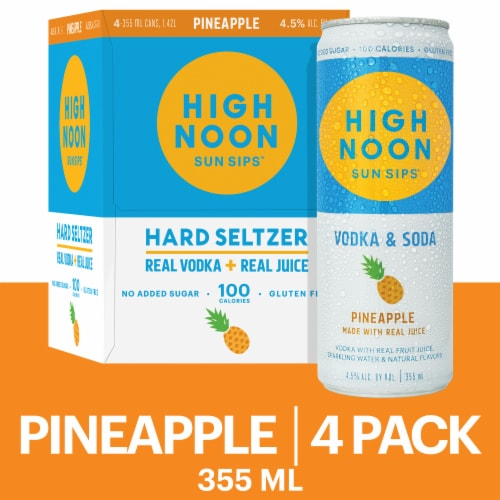 High Noon Pineapple Vodka Hard Seltzer 4 Single Serve 355ml Cans Perspective: front