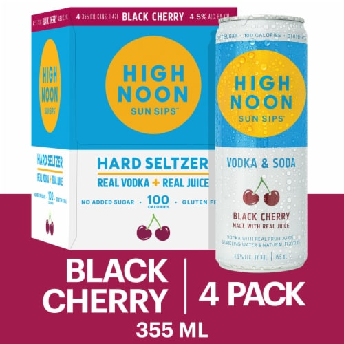 High Noon Black Cherry Vodka Hard Seltzer 4 Single Serve 355ml Cans Perspective: front