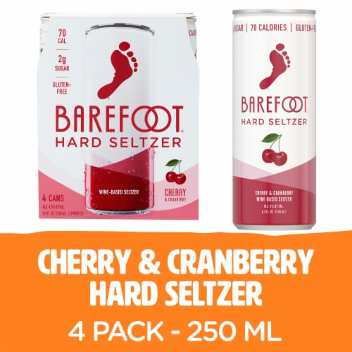 Barefoot Hard Seltzer Cherry & Cranberry Wine-Based Seltzer Perspective: front