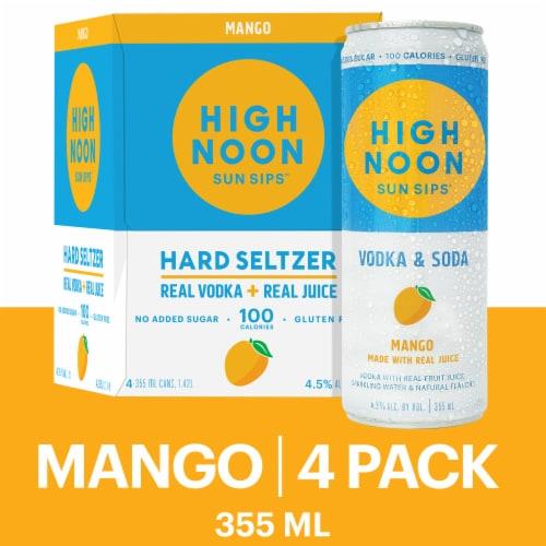 High Noon Mango Vodka Hard Seltzer Perspective: front