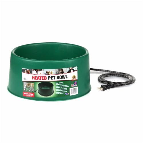 Farm Innovators P-60 1.5 Gallon Electric Heated Pet Water Bowl, 60 Watt, Green Perspective: front