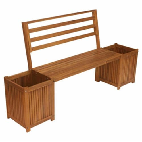 United General Supply Multi Functional Bench with 2 Planter Boxes - Tan Perspective: front