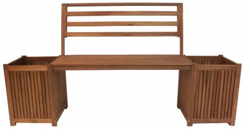 Leigh Country Sequoia Bench with Planters - Brown Perspective: front