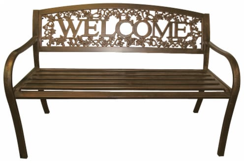 Leigh Country Metal Welcome Bench - Bronze Perspective: front