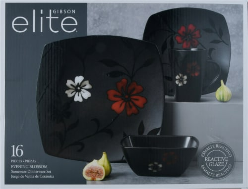Gibson Evening Blossom Dinnerware Set - Black/Red Perspective: front