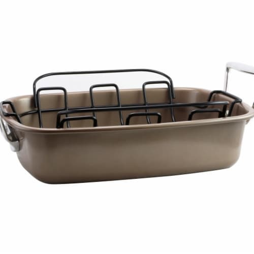 Gibson 79568.02 Harvest Nonstick Roaster with Rack Perspective: front