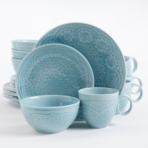 Gibson 92456.16 Alemany 16Pc Dinnerware Set - Aqua Perspective: front