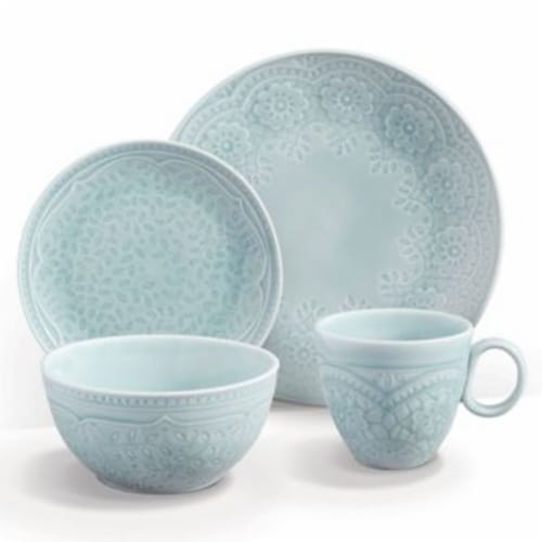 Gibson Elite 16 Piece Floral Glaze Dinnerware Set with Plates, Bowls, and Mugs Perspective: front