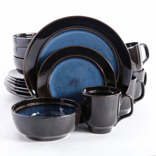 Gibson Elite Bella Galleria 16 Piece Dinnerware Set with Plates, Bowls, and Mugs Perspective: front