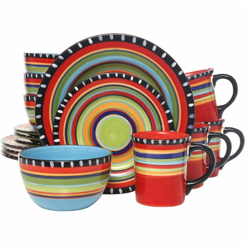 Gibson Elite 16 Piece Multi Color Glaze Dinnerware Set with Plates, Bowls & Mugs Perspective: front