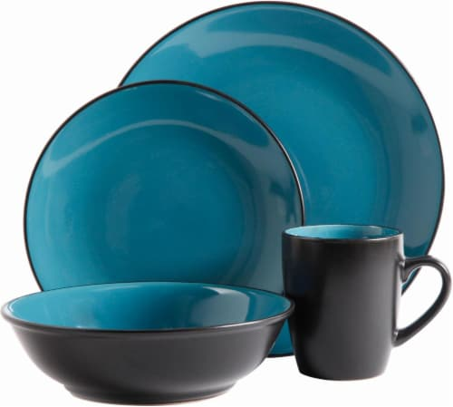 HD Designs Luna Bella Dinnerware Set - 16 Piece - Teal/Black Perspective front  sc 1 st  Kroger & Kroger - HD Designs Luna Bella Dinnerware Set - 16 Piece - Teal/Black