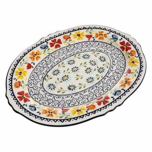 Gibson Elite 98760.01R Hand-Painted 14-Inch Serving Platter, Blue Floral Design Perspective: front