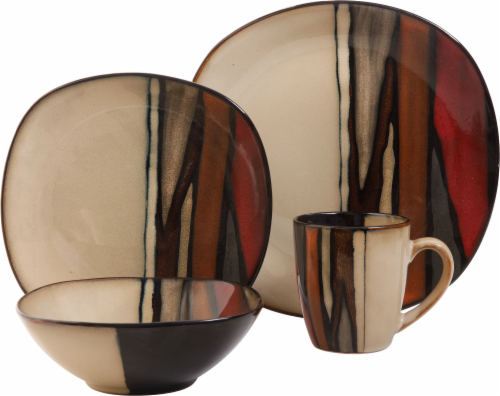 Gibson Elite Matrice 16-Piece Dinnerware Set - Red/Brown Perspective front  sc 1 st  Dillons & Dillons - Gibson Elite Matrice 16-Piece Dinnerware Set - Red/Brown