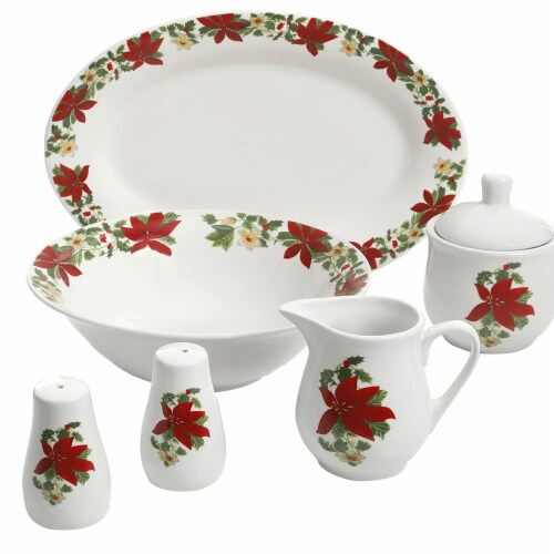 Gibson 99825.07R 7 Piece Poinsettia Porcelain Serving Set, Red Perspective: front