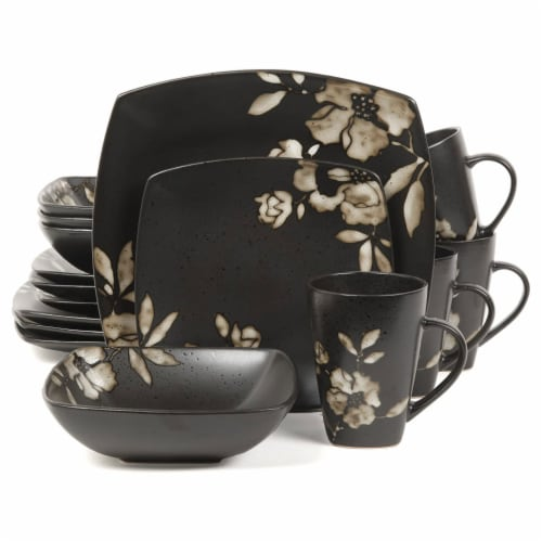 Gibson Elite Lanark 16 Piece Square Dinnerware Set with Plates, Bowls, & Mugs Perspective: front