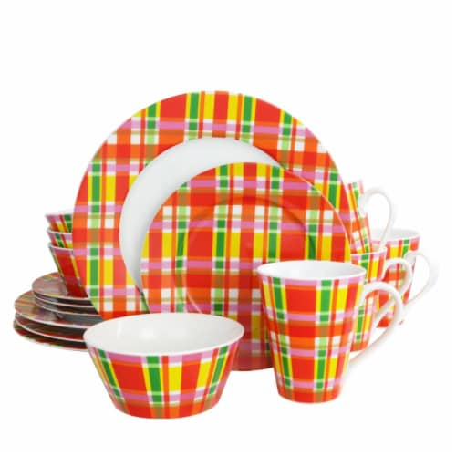 OUI by French Bull 100806.16 16 Piece Multi Plaid Porcelain Dinnerware Set Perspective: front