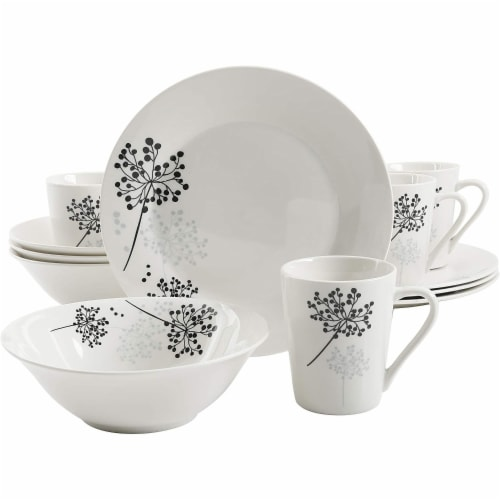 Gibson Netherwood 12 Piece Round Glaze Dinnerware Plates, Bowls, and Mugs, White Perspective: front