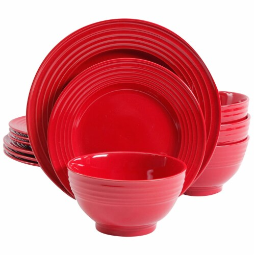 Gibson Home Plaza Cafe 12 Piece Stoneware 4 Person Dinnerware Serving Set, Red Perspective: front
