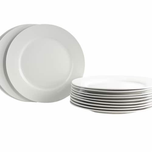 Gibson Home 108045.01 12 Piece Noble Court Dinner Plate Set, White Perspective: front