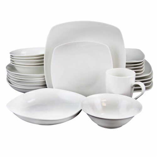 Gibson Home 108050.3 Hagen Square Dinnerware Set, White - Set of 30 Perspective: front