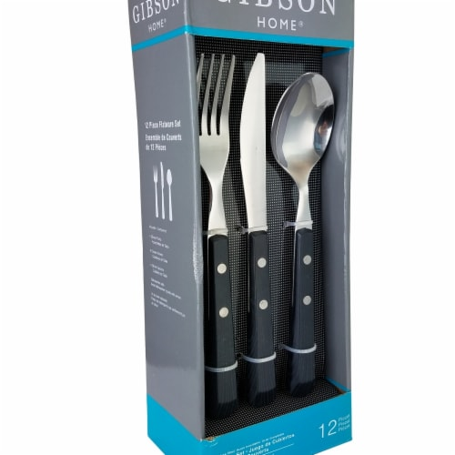 Gibson 109505.12 Springbrook Flatware Set with Black Wood Look - 12 Piece Perspective: front