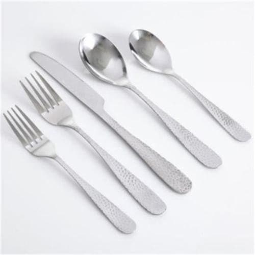 Gibson 109532.46 Hammered 46-Piece Stainless Steel Flatware Set Perspective: front