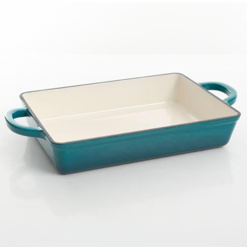 "Crock-Pot Artisan 13"" Nonstick Enameled Cast Iron Casserole Dish Cook Pan, Teal Perspective: front"