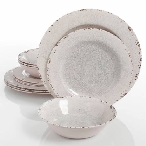 Gibson Studio California Mauna 12-Piece Durable Melamine Dinnerware Set, Ice Perspective: front