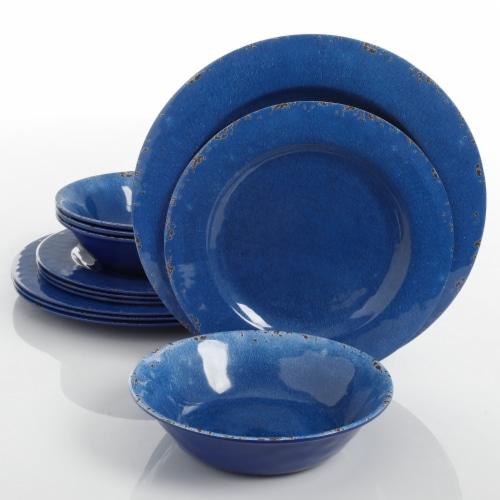 Gibson Studio California Mauna 12-Piece Durable Melamine Dinnerware Set, Blue Perspective: front