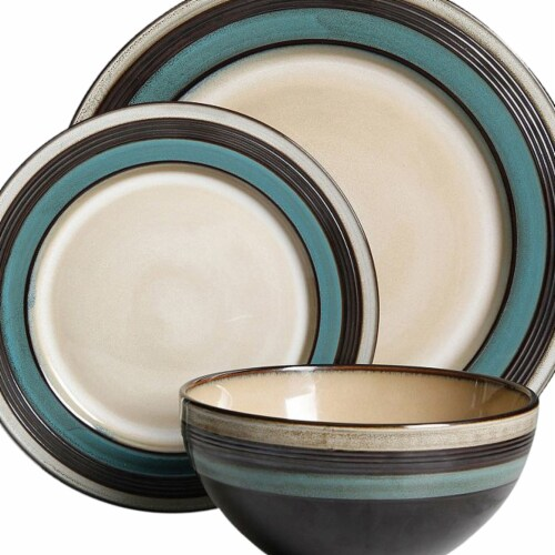 Gibson Elite 116858.12 Everston Dinnerware Set, Teal - 12 Piece Perspective: front