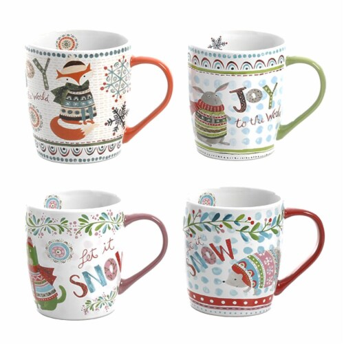 Gibson 18 oz Snow Scene Holiday Mugs - 4 Piece Perspective: front