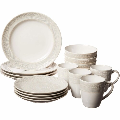 Gibson 16 Piece Reactive Glaze Dinnerware Set Plates, Bowls, and Mugs, Cream Perspective: front