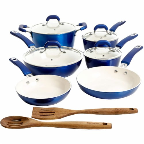 Kenmore Arlington 12 Piece Nonstick Ceramic Cookware and Accessory Set, Blue Perspective: front
