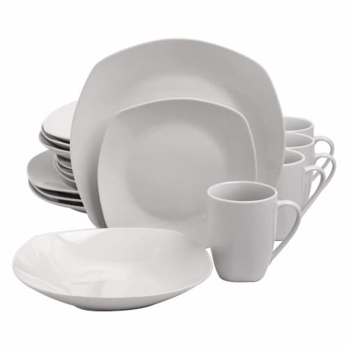 Gibson Porcelain 16 Piece Dinnerware Set Plates, Bowls, & Mugs, Classic Pearl Perspective: front