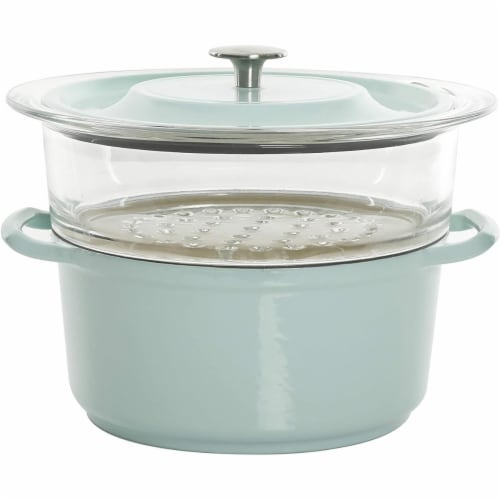 Gibson 127610.03 5 qt Kenmore Casserole with Glass, Blue Perspective: front