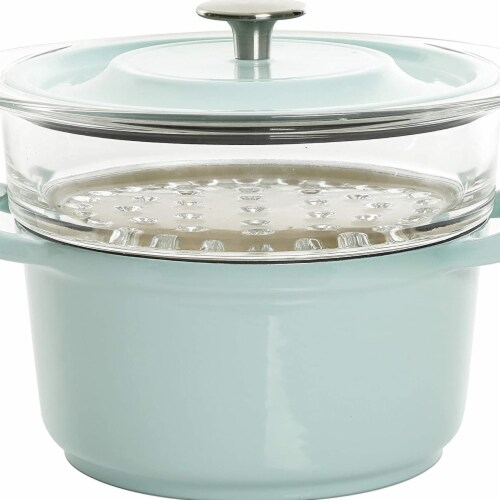 Gibson 127611.03 3 qt Casserole with Glass Steamer, Blue Perspective: front