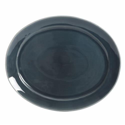 Martha Stewart Oval Reactive Platter - Blue Perspective: front