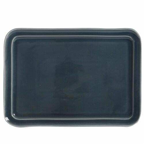 Martha Stewart Reactive Rectangular Platter - Blue Perspective: front